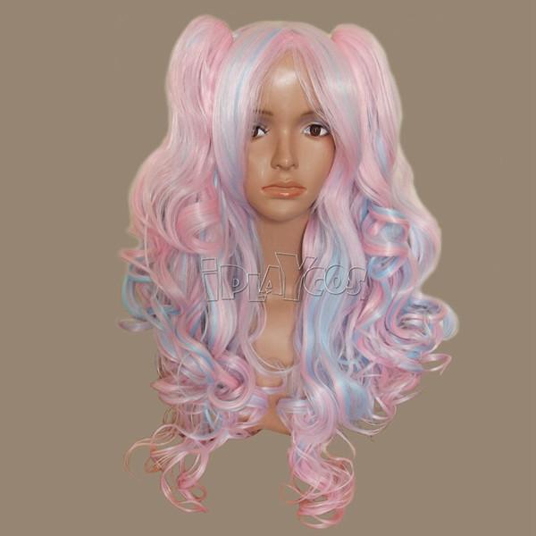 初音系列 粉色 白色 蓝色相间 长卷发 带双虎口夹 动漫假发 Cosplay假发
