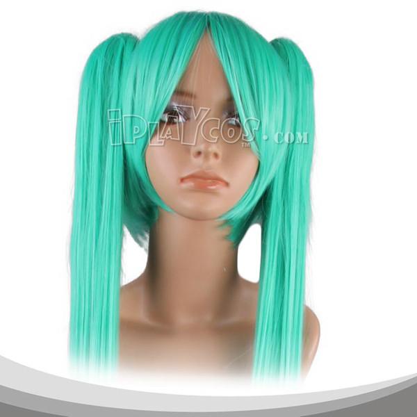 青绿色双马尾长直假发