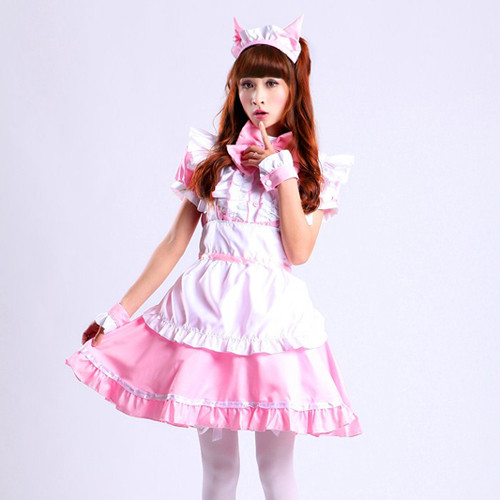 Pink or Black Kawai Sweet Cosplay Maid Uniform