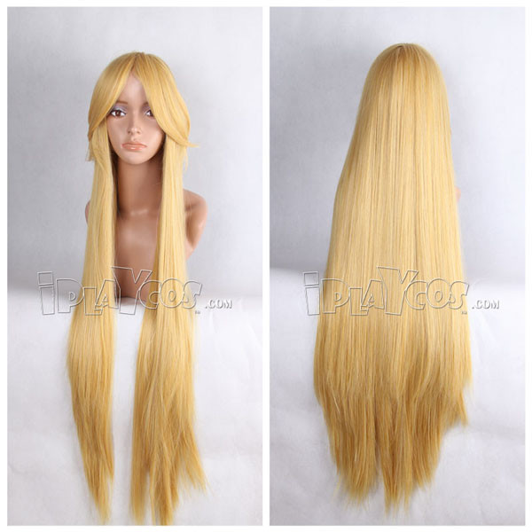 Yellow 100cm Long Straight Anime Cosplay Synthetic Wig