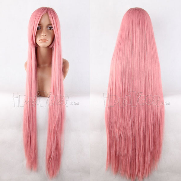 Pink 100cm Long Straight Anime Cosplay Synthetic  Wig