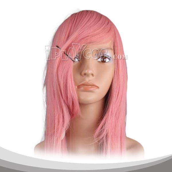浅珊瑚色长直假发