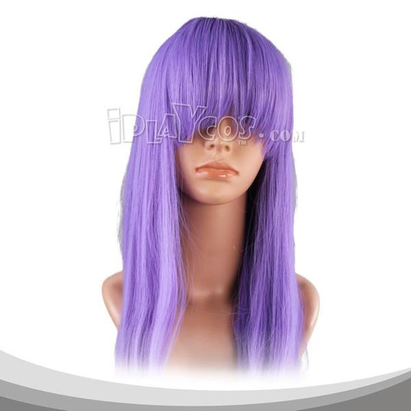 中紫色长直假发