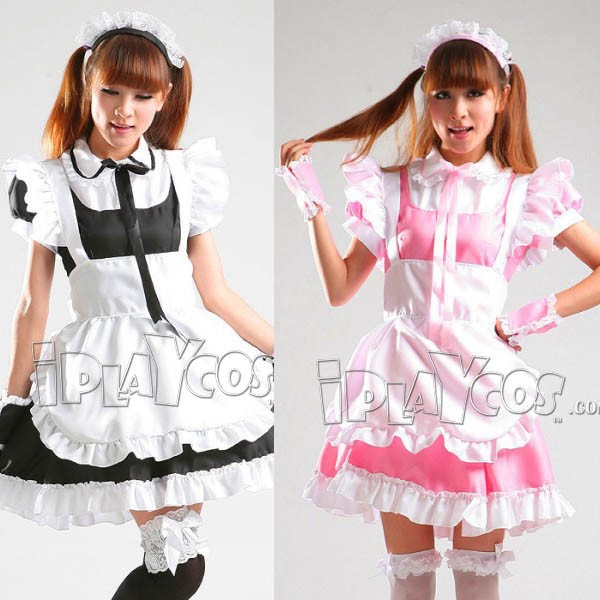 sweet-lolita-maid-cosplay-clothes-uniform-black-pink-apron-dress-set-1