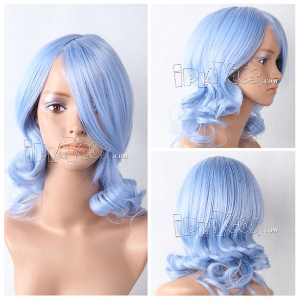 Blue Meidum Curly Anime Cosplay Wig