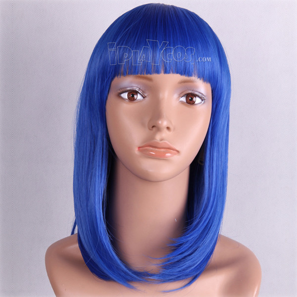 Blue Medium Straight Two Braids Anime Cosplay Wig