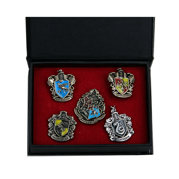 Harry Potter Hogwarts House Metal Pin Gryffindor Slytherin Ravenclaw Hufflepuff Badge Set of 5pcs