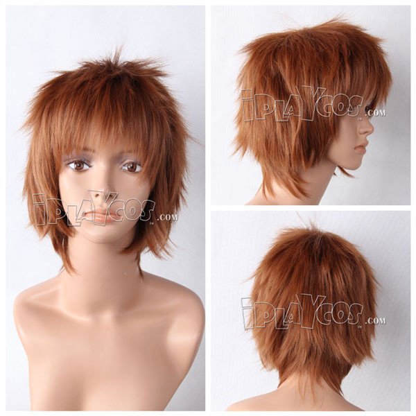 Brown Short Shaggy Anime Cosplay Synthetic Wig