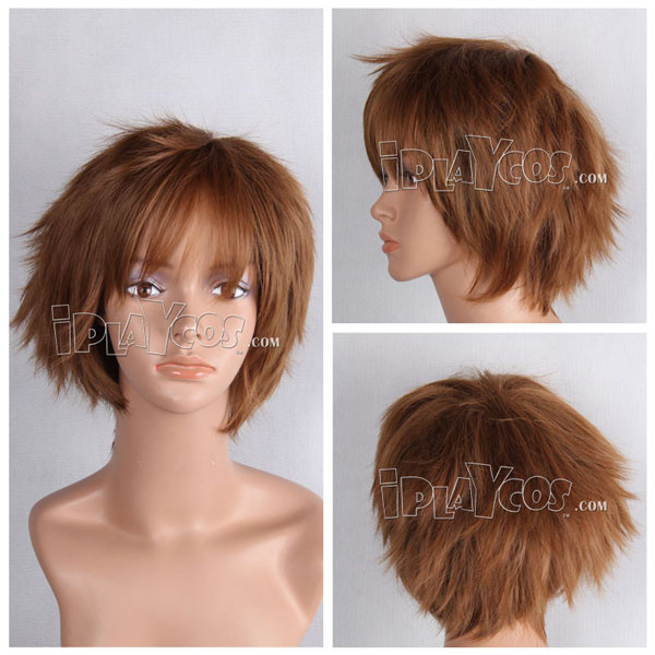 Brown Short Shaggy Anime Cosplay Full Synthetic Wig