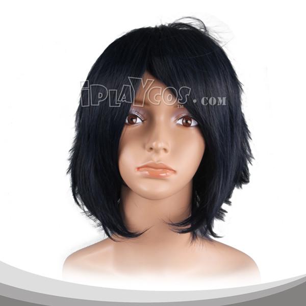 黑色收脸短发假发