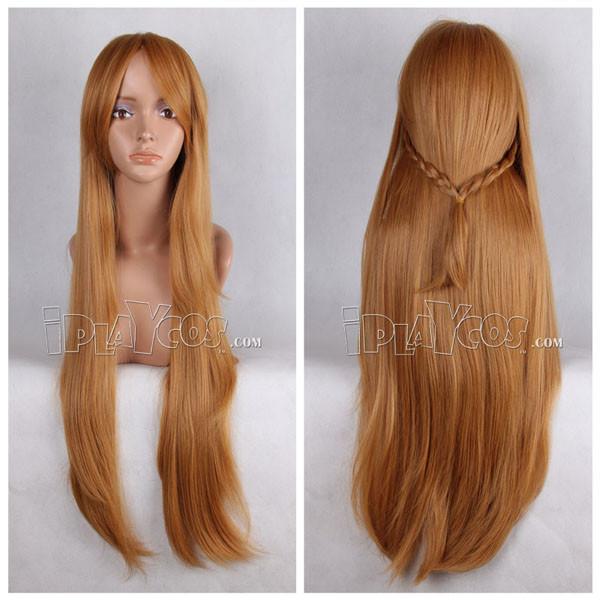 Sword Art Online Asuna Light Brown Long Straight Anime Cosplay Wig