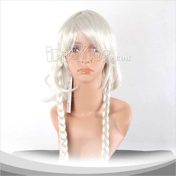 白色双辫长发假发