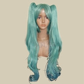 Megurine Luka Green Long Curly Clipons Wig Anime Cosplay Full Synthetic Wig