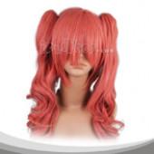 鲑红色双马尾长卷假发