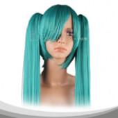 浅海绿色双马尾长直假发