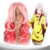 粉色红色相间长卷假发