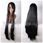 Black Long Straight Anime Cosplay Synthetic Wig