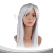 银灰色长直假发