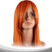 阳光橙长直假发