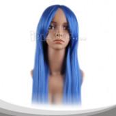 蓝色长直假发