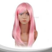 亮粉色长直假发