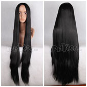 Black Long Straight Cetral Parting Anime Cosplay Wig Full Lace Wig
