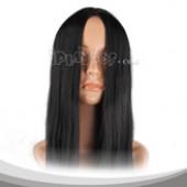 黑色中分长直假发