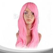 粉色长直假发