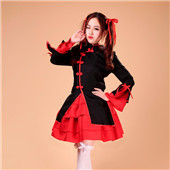 Red and Black Chinese Style Uniform Cloth Lolita Costume