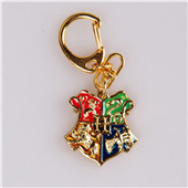 Harry Potter Hogwarts Logo Golden Metal Key Ring Chain