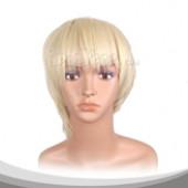 米白色短发假发
