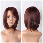 Maroon Short Straight Anime Cosplay Synthetic Wig