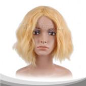淡黄色蓬松短卷发假发
