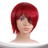 鲜红色短发假发