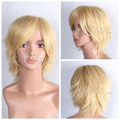 Yellow Short Straight Anime Cosplay Synthetic Wig