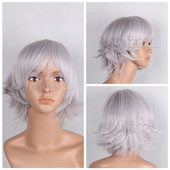 Isana yashiro Silvery Grey Short Straight Anime Cosplay Wig