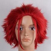 红色 蓬松刺猬头 短发 动漫假发