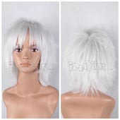 Silvery-white Short Stragiht Anime Cosplay Wig Full Lace Synthetic Wig