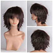 Dark Brown Short Shaggy Anime Cosplay Synthetic Wig