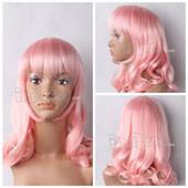 Pink Medium Wavy Anime Cosplay Wig
