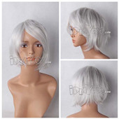 Silvery-grey Short Straight Anime Cosplay Wig