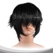 黑色内收短发假发