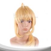 黄色长马尾假发