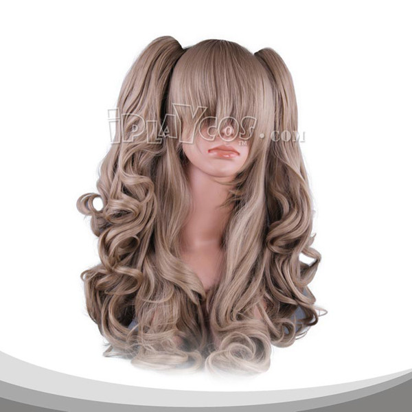 Brown Two Pigtails Clipons Long Curly Cosplay Wig
