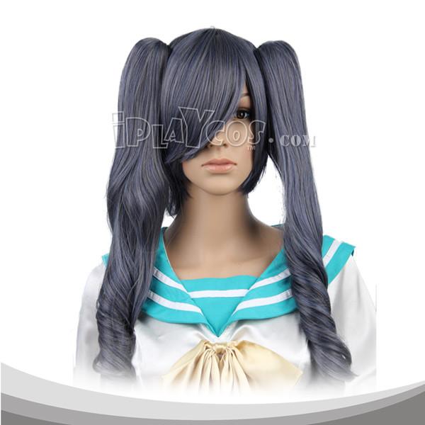 蓝灰色双马尾长卷假发 高温丝 动漫假发