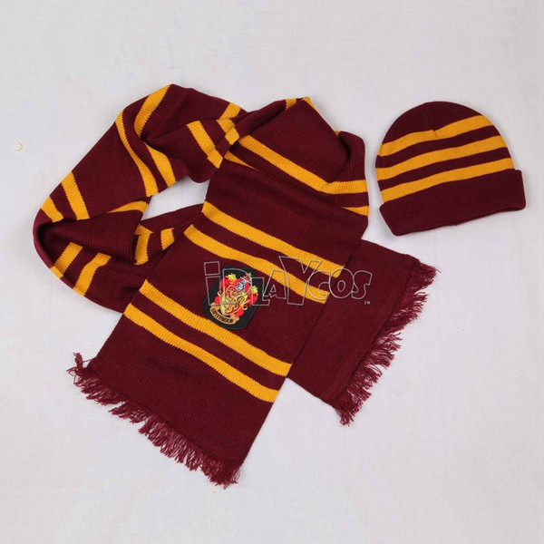 HARRY POTTER GRYFFINDOR SCARF AND HAT SET(SLIM STRIPED)