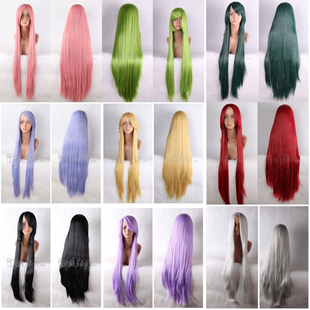 100CM Long Straight Anime Cosplay Wig In 9 Different Colors