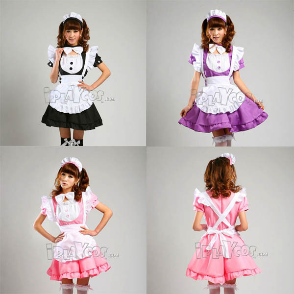 Inu x Boku SS cosplay princess maid clothes uniform pink/purple/black apron dress set