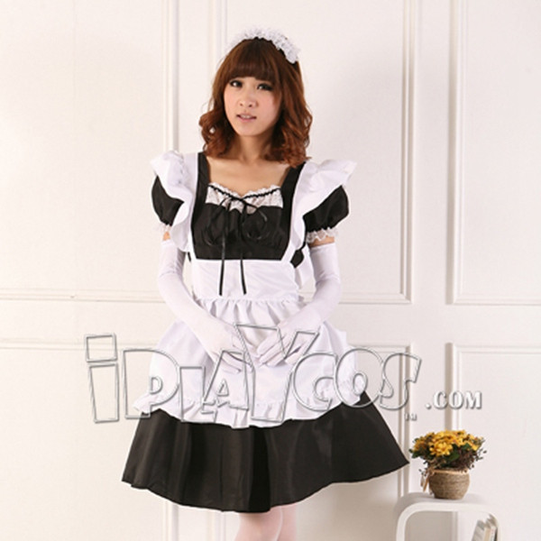 Japanese anime lolita maid female cosplay costume apron dress set