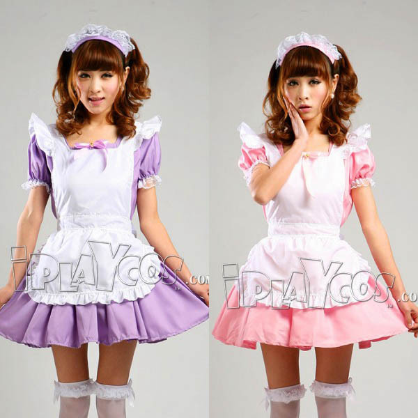 akihabara-maid-restaurant-uniforms-cosplay-costume-pink-apron-dress-set-1